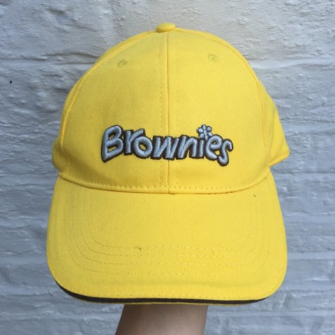 246cca5678498 Vintage Brownies cap hat. Retro 90s. Yellow with brown and - Depop