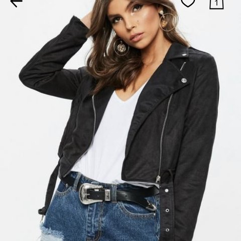 e72fa81853aa Missguided suede crop jacket, black Belt attached to jacket - Depop