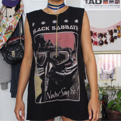 Black Sabbath Never Say Die Side Boob Dress Or Muscle Tee Depop