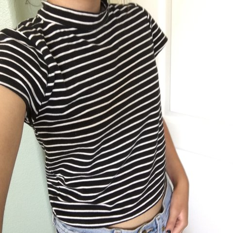 44b51db7435 @mousehouse. 3 years ago. Selma, CA 93662, USA. Cropped black and white  striped shirt ...