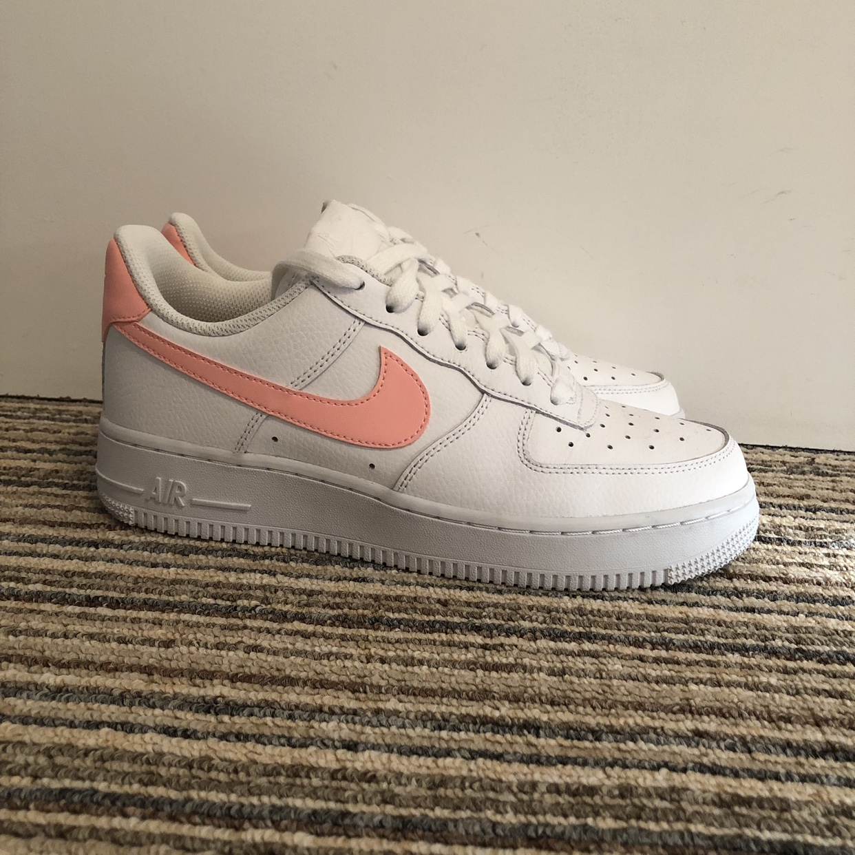 Nike Air Force 1's White with Peach Tick Brand Depop