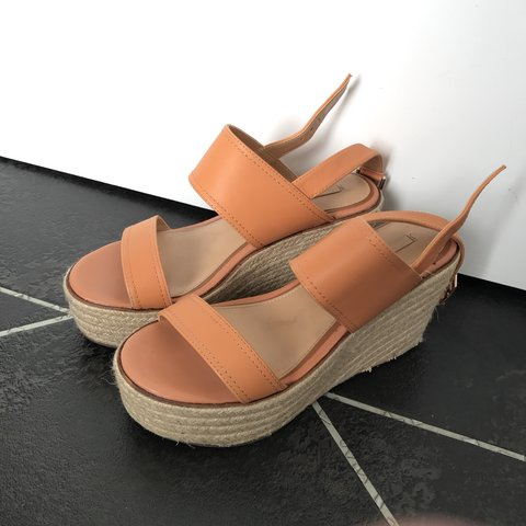 54eb4ce2b55d Tanned peach nude sandal wedges from Aldo