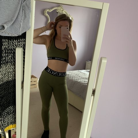 135cdb75044 Khaki two piece (sports bra and leggings) from Lounge worn - Depop