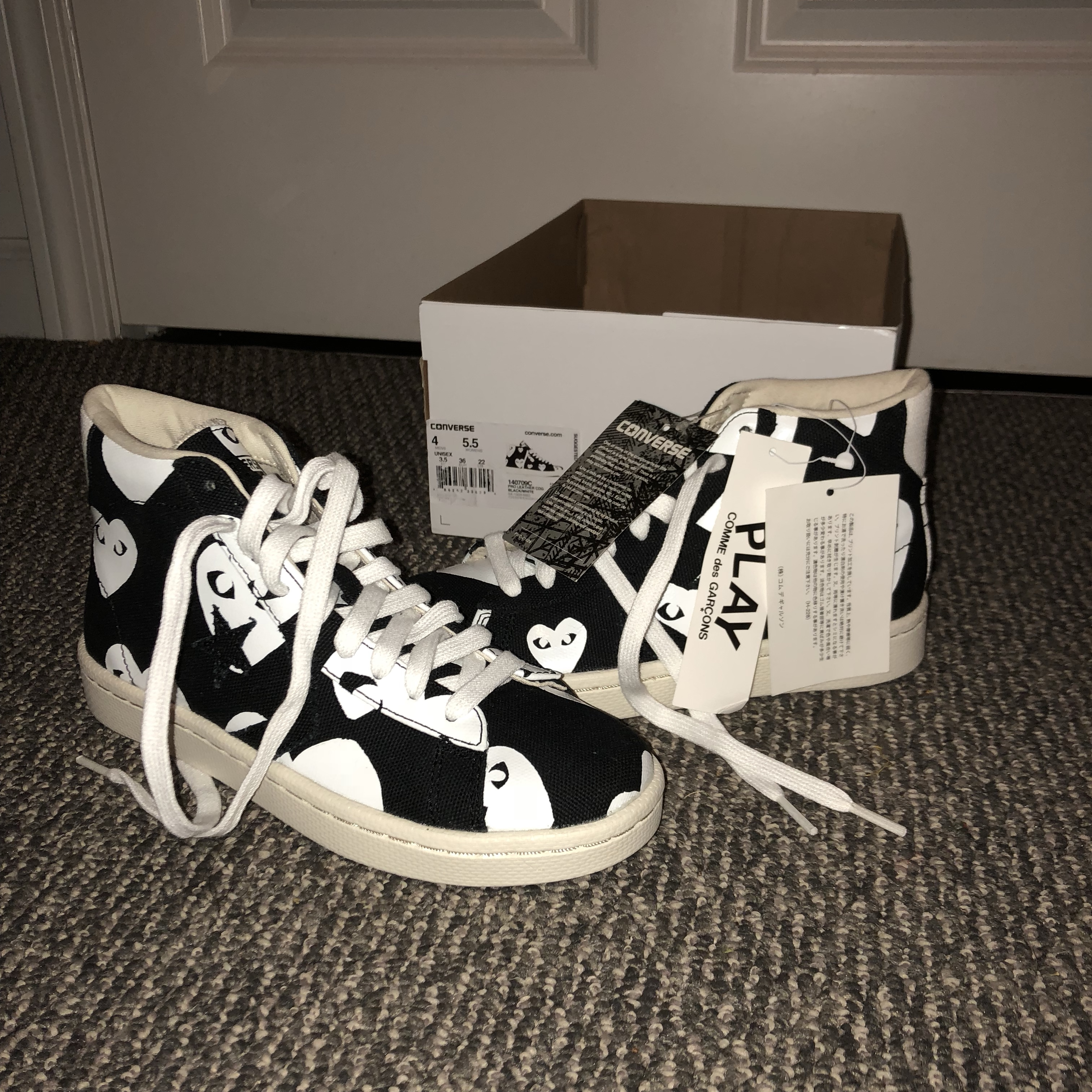 Converse Pro Leather CDG in Black/White