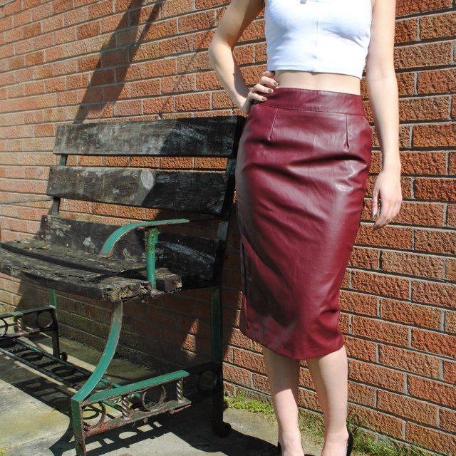 fd89e9afc @yasminpaul. 5 years ago. Riverisland faux leather burgundy skirt ...