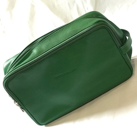 Longchamp Le Foulonne green pebbled leather toiletry bag in - Depop f25ef47bb1673