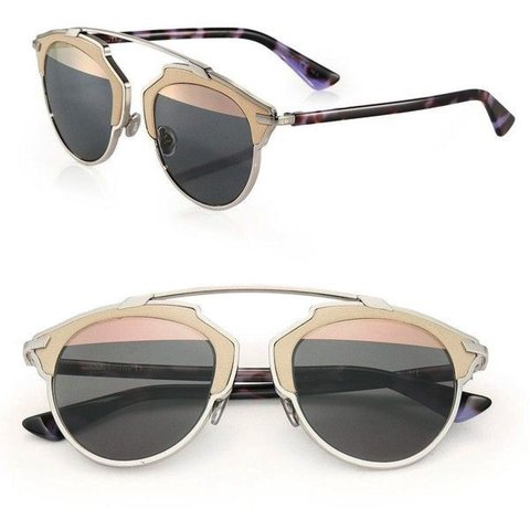 3537961af166d Dior So Real L 48MM Leather-Trim Metal Sunglasses Pantos in - Depop
