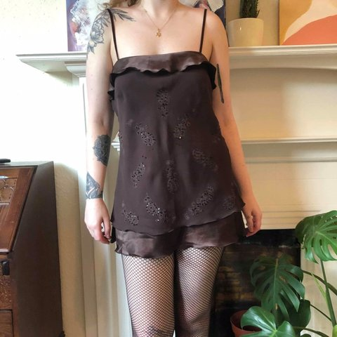 78759b63a9865 Super cute vintage 90s brown mini slip dress. Silk lining a - Depop