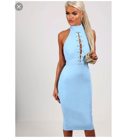 2acd75bba2e Brand new gorgeous pastel blue open back lace up front dress - Depop