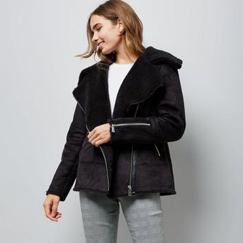 36b81e0e04ff2 Black Faux Shearling Aviator Jacket New look
