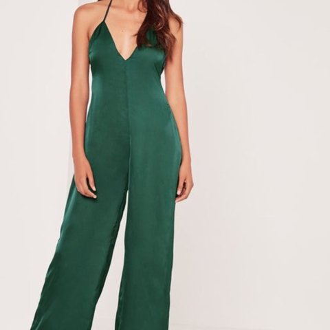 865c1f6ec02 Missguided satin emerald green plunge jumpsuit    size 6    - Depop
