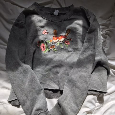 0e21ca1e470 precious grey cropped sweatshirt with a raw hem and beaded i - Depop