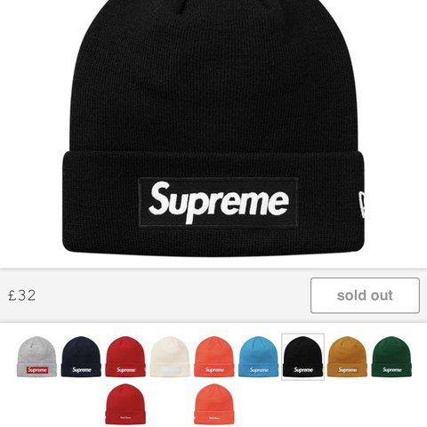 6c26f80ae27 SOLD FOR 90 Supreme box logo beanie Black New era One - Depop