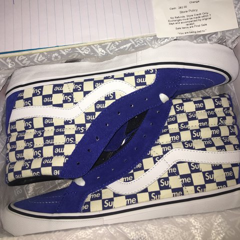 9604227b22 Supreme x Vans Sk8-Hi  Checkered Blue  Size 9. DSWT. Tags  - Depop
