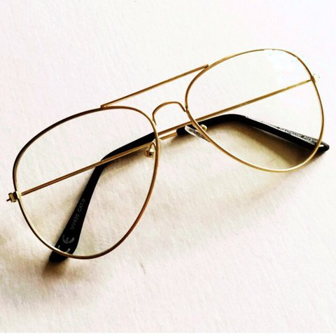 367d6f959b New glasses with clear lens and metal gold rim arms (lenses - Depop