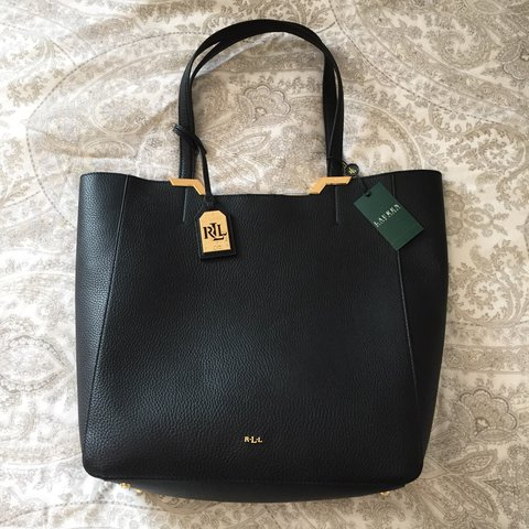 6ecc4279469f Ralph Lauren black Acadia tote bag with magnetic clasp