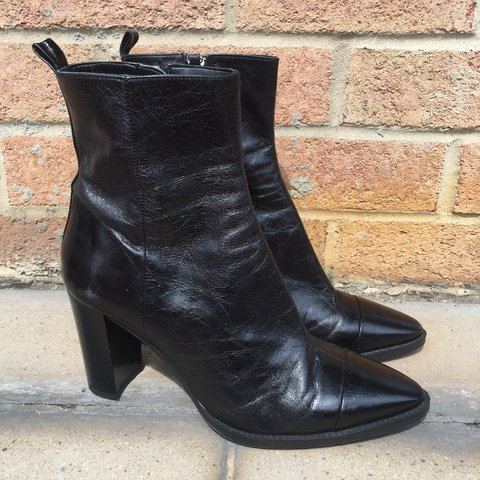 28ef7ab632b Black Leather Zara Heeled Boots Like new Pointed almond 41 - Depop