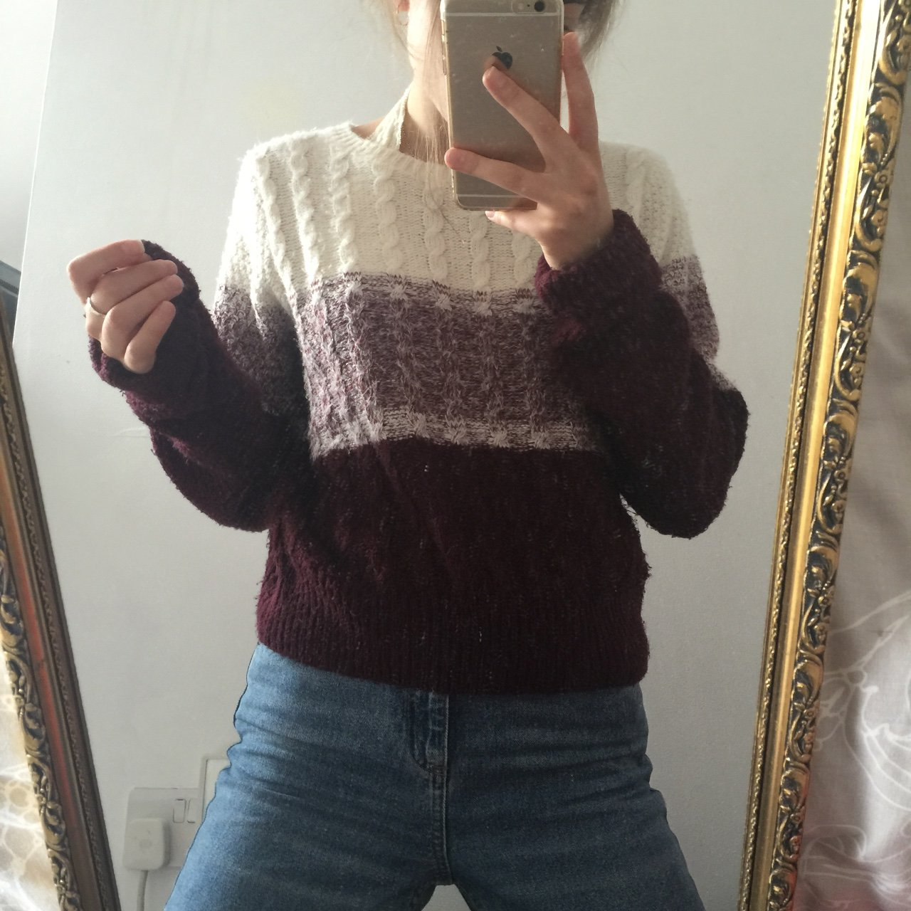 f743d458c PRICE DROP! 🎉 Cream   burgundy fade   ombré sc co knitted - Depop