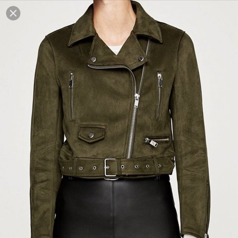7c139b35d1 @harrietlaws. last year. Brighton, United Kingdom. Brand new Zara olive  green faux suede biker jacket