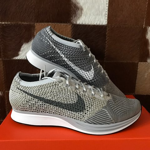 e1818f3455f3 NIKE FLYKNIT RACER  PURE PLATINUM COOL GREY  Size 9 UK. of - Depop