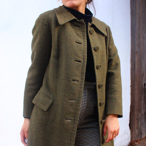 f77c5ae26 @valerielauren. 2 years ago. Long Beach, United States. Vintage Tailor Made Olive  Wool Coat