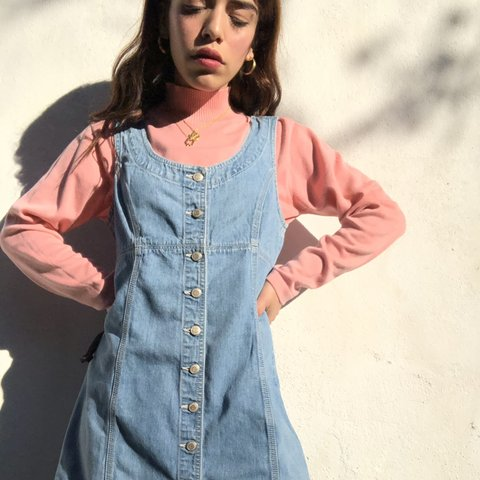 eaac080a7fc Vintage 90 s Denim dress with buttons down the front. Such a - Depop