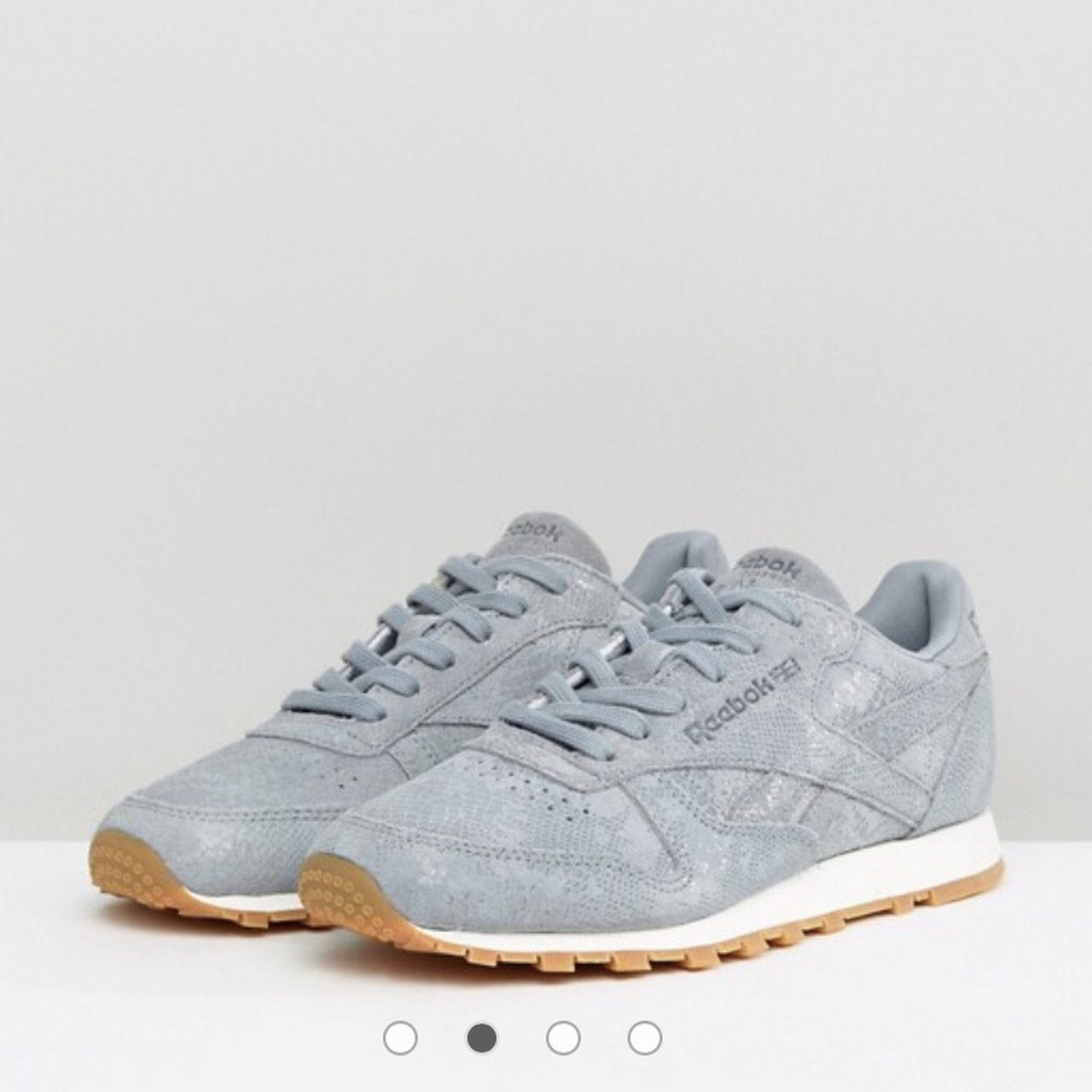 d78508c03cc Reebok trainers in grey exotic faux leather. Size UK 6.5 or - Depop