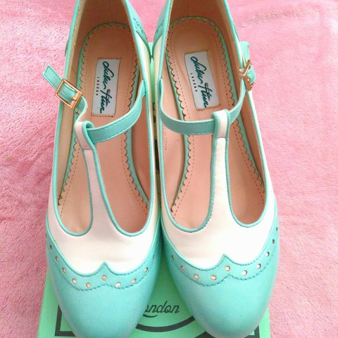 dbae5d954ad0 Lulu Hun Mint Green + White Mary Janes I wore these through - Depop