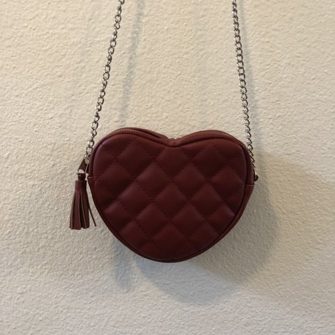 2baa01b74a97 Red quilted heart shaped bag purse with chain strap! Chanel - Depop