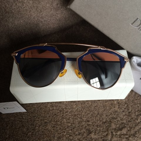 15638fccbb3a6  pfyt. 3 years ago. United Kingdom. Dior So Real sunglasses. RRP £350 Rose  gold with navy. Brand new.