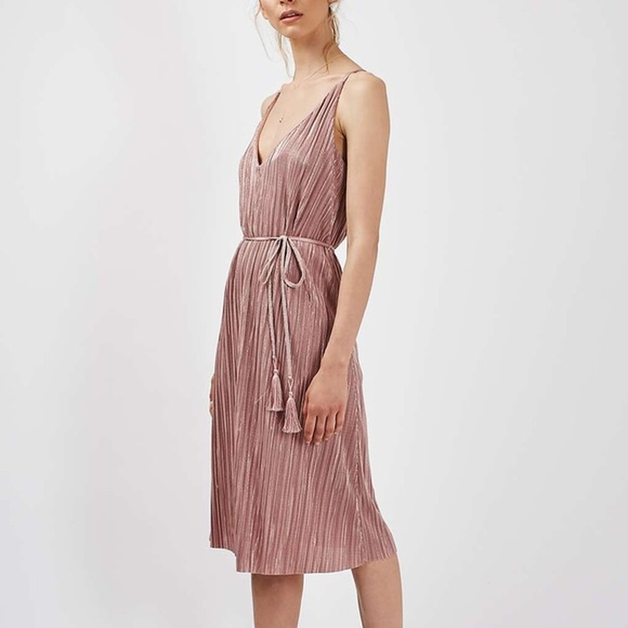 Topshop pink pleated midi 837fea06a