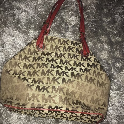 f33066a61bf8 @courtsx3. 11 months ago. Glasgow, United Kingdom. 💯 Genuine Michael Kors  Bag MK print. Gorgeous red leather finishing. Great condition ...