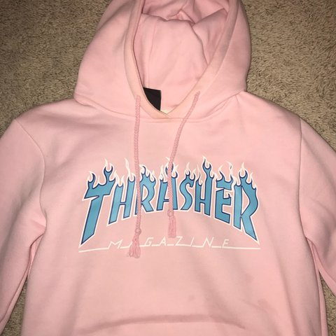 9a926b6796e4 Pink with blue text Thrasher hoodie   worn only once or   M - Depop