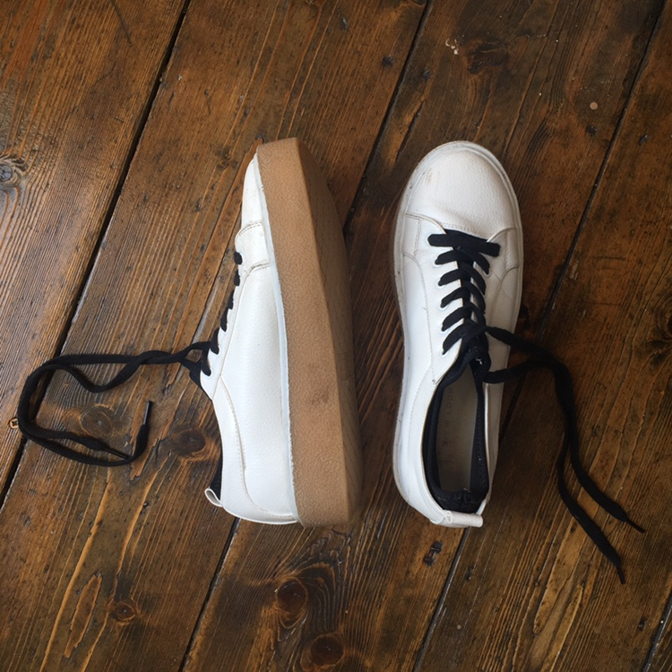 Chunky White Gum Sole Trainers With Black Scuba by Depop