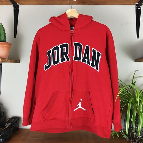 513b6117ddd8 VINTAGE JORDAN ZIP UP HOODIE WITH JUMPING SYMBOL PULL a   - Depop