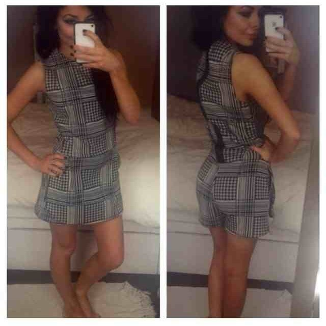 ed9050eb1d0 ZARA Trafaluc monochrome check and dogtooth playsuit with EU - Depop