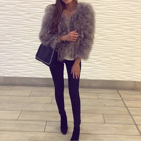 MIMI BOW Grey Fur Coat Worn Once Only For A Couple Of