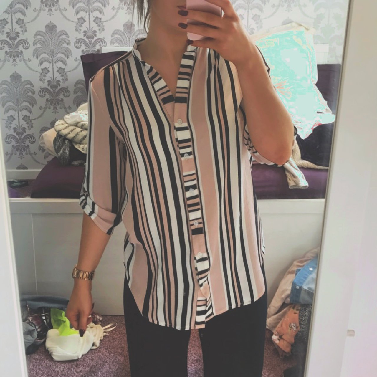 2ed0f05a9e4528 New Look pink striped blouse/shirt, size 6 - Depop