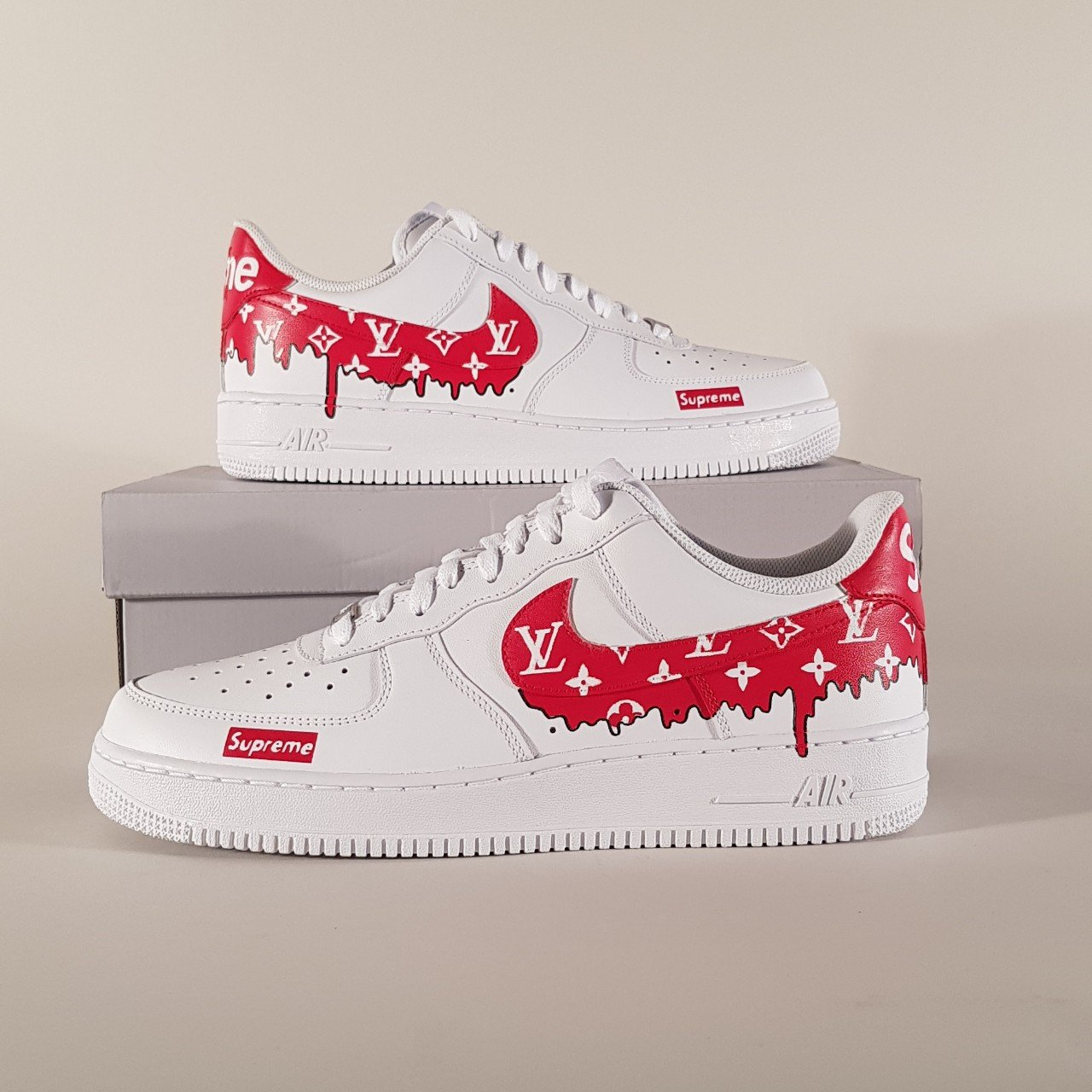 66c8a3a0d31 - Custom Nike Air Force Ones Louis Vuitton x Supreme - Pure - Depop