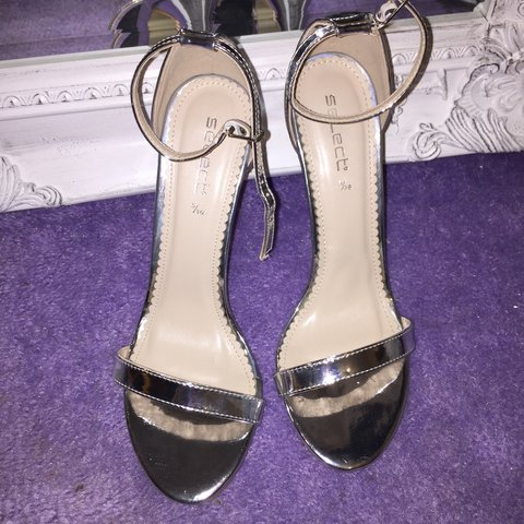 63551ba7a5b Select silver strappy barely there heels. Worn once. Perfect - Depop