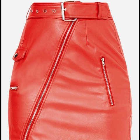 ffa23010f @molcheyne. last year. Liverpool, United Kingdom. Pretty Little Thing Red  Leather Skirt. Size 12, BRAND NEW. Tags removed