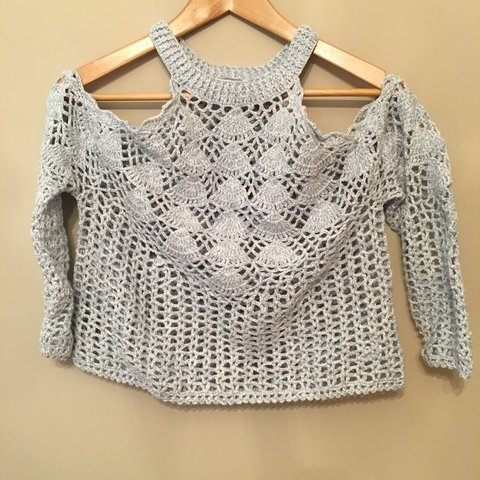 34dfd886a7f19a Crochet knit cold shoulder top in pale blue and white