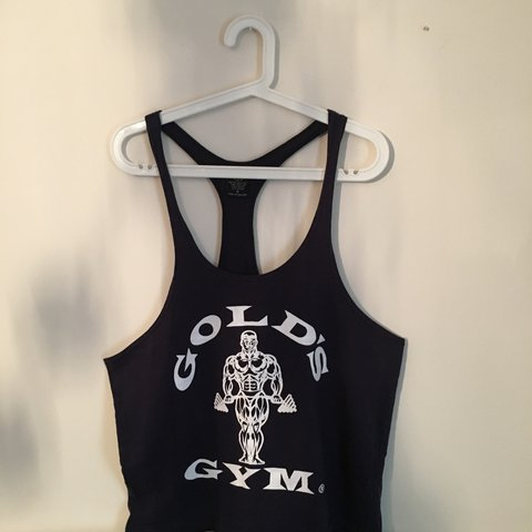3e41f41a291217 Gold s Gym Golds Gym extreme stringer vest! Navy with white - Depop