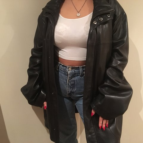d1bcb784f5bf Really oversized black leather jacket, I'm obsessed with is - Depop