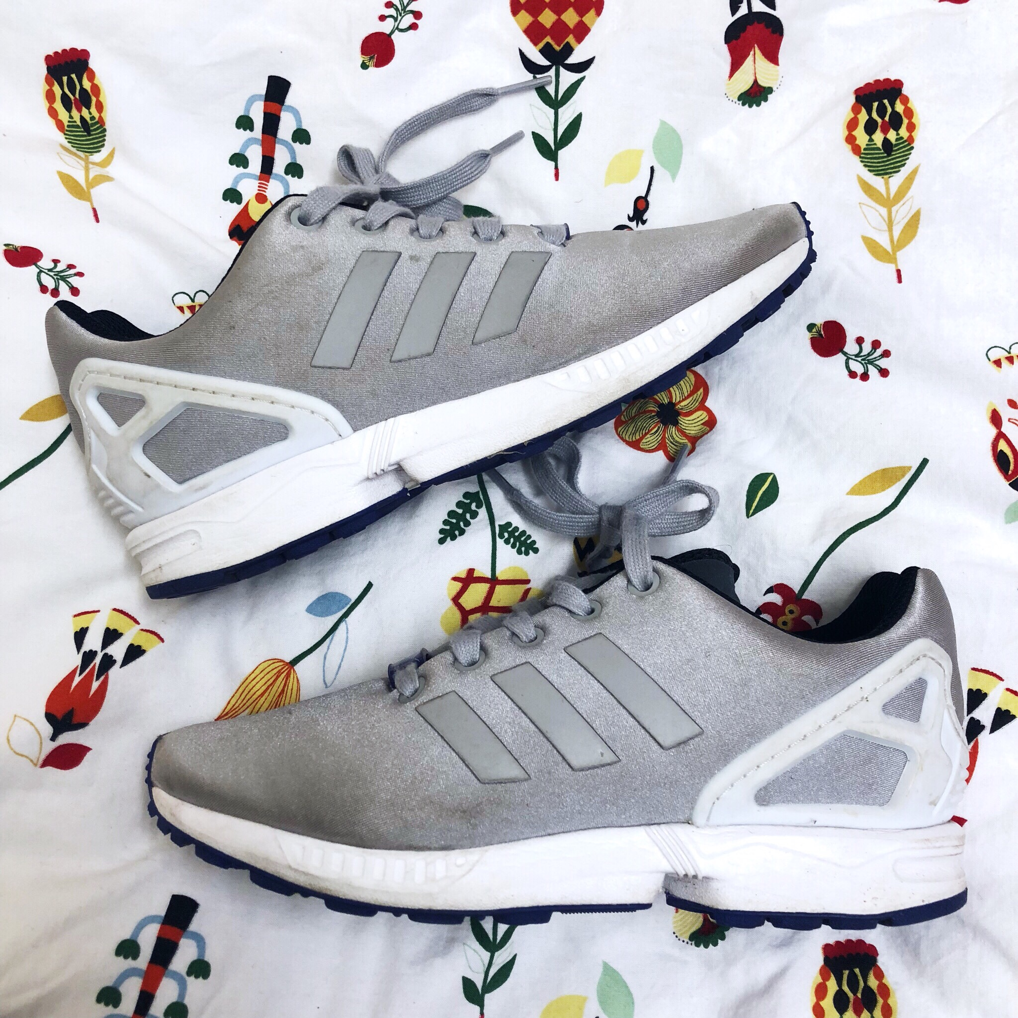 the best attitude a6548 ecfcb adidas torsion zx flux trainers / grey white and... - Depop