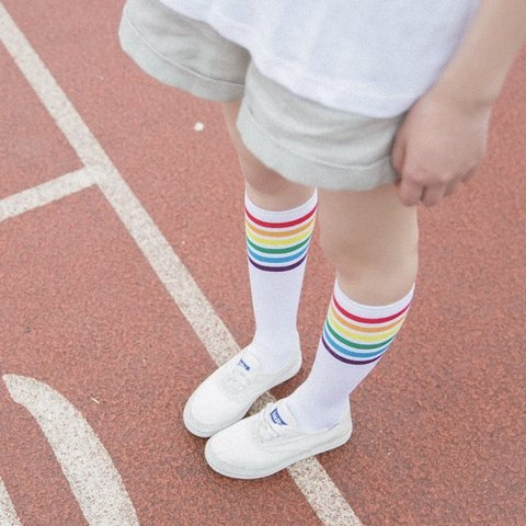 0b3925614 rainbow knee-high athletic socks • brand new cotton socks - Depop