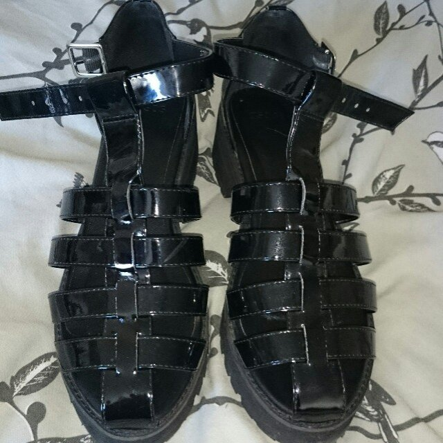 65849cf36f57  kellyoneillx. 5 years ago. United Kingdom. asos patent black caged sandals  shoes ...