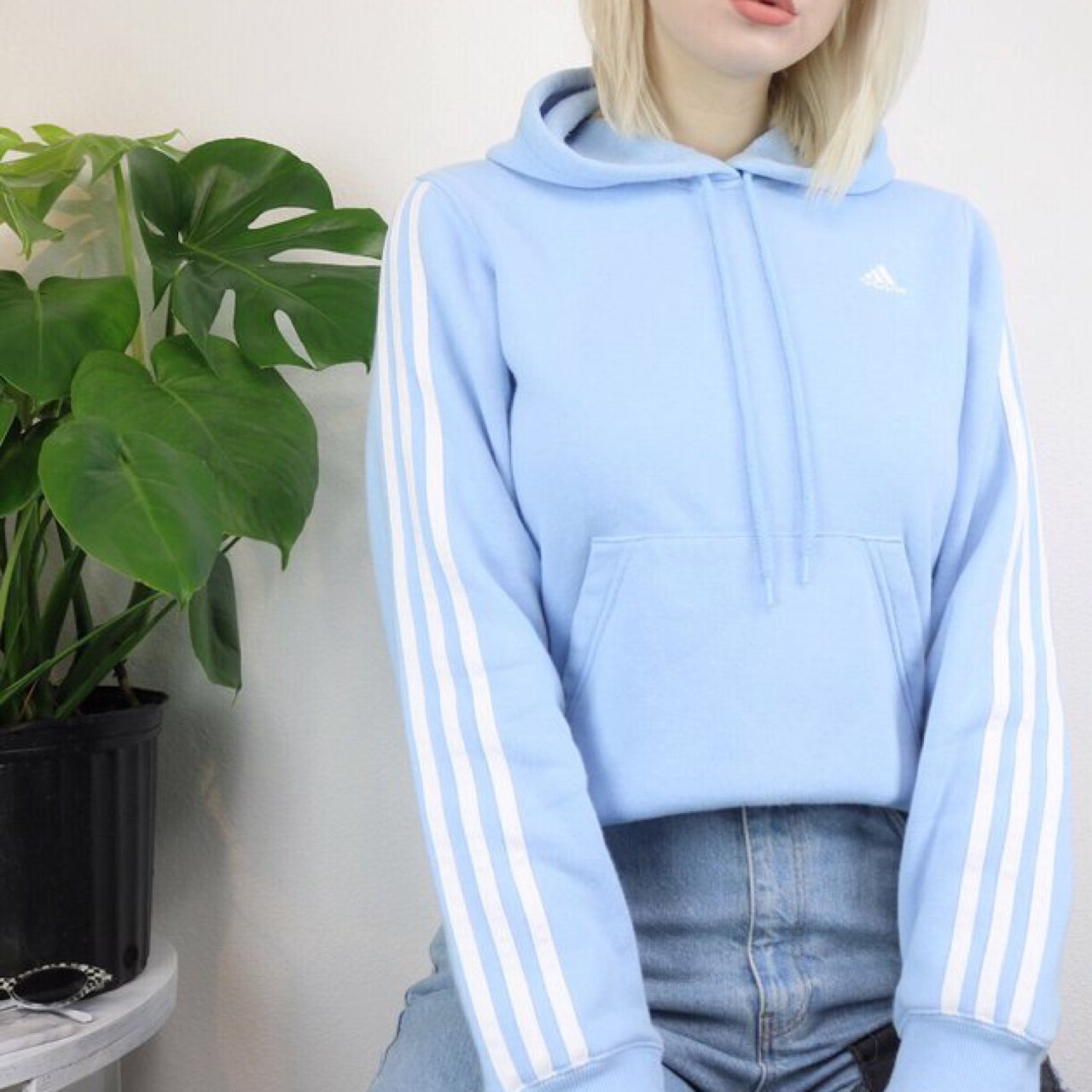 6052afb9ea6d Repop Baby blue Adidas hoodie. Excellent condition with no M - Depop