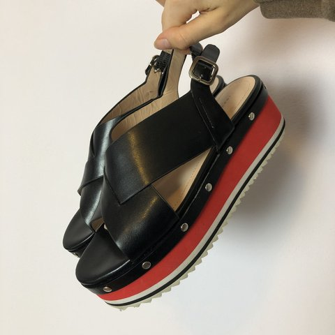 be4be50603e Zara black and red studded platform sandals. These have wear - Depop