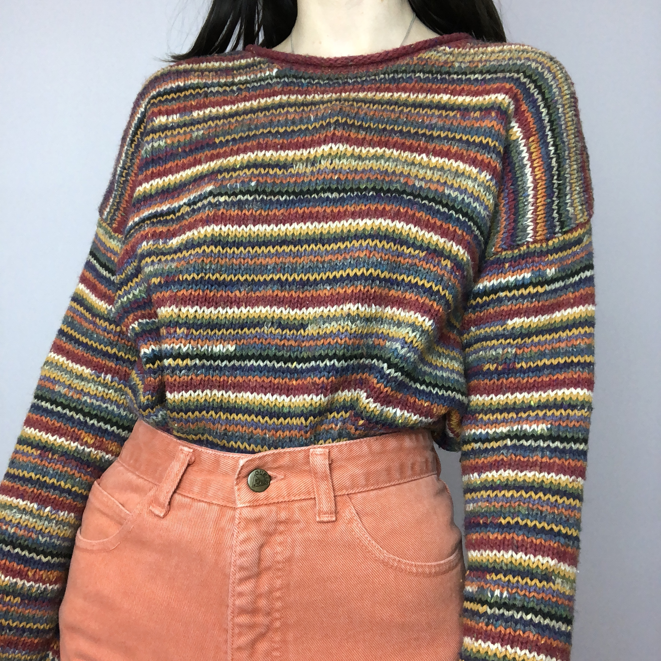 Vintage Rainbow Hand-Knitted Sweater